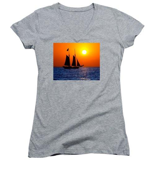 Sunset Sailing In Key West Florida Women's V-Neck T-Shirt (Junior Cut) by Michael Bessler