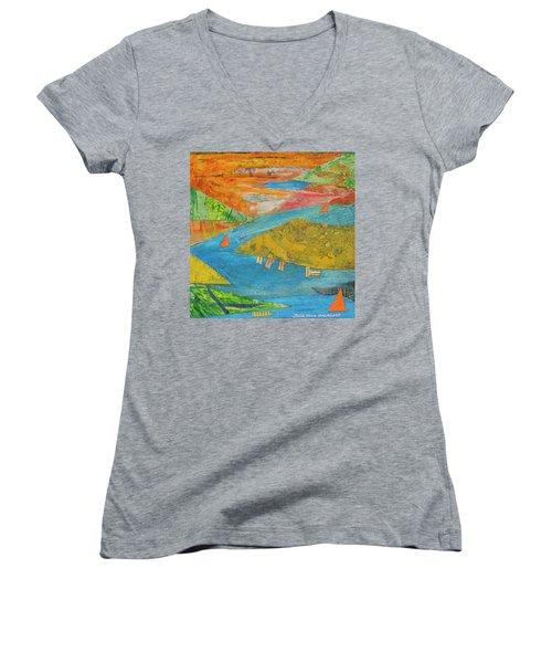 Sunset Sails 1 Women's V-Neck