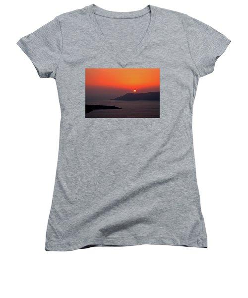 Sunset - Santorini, Greece Women's V-Neck
