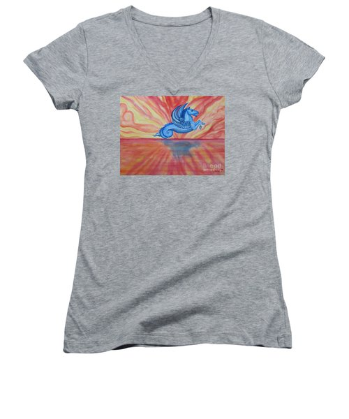 Sunset Seahorse Women's V-Neck T-Shirt
