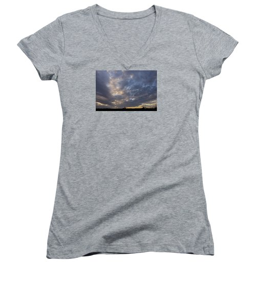 Women's V-Neck T-Shirt (Junior Cut) featuring the photograph Sunset Sky by Inge Riis McDonald