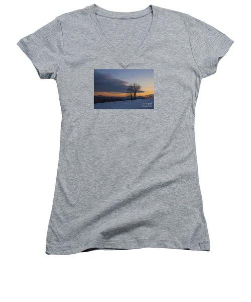 Sunset Solitude Women's V-Neck T-Shirt (Junior Cut) by Alana Ranney