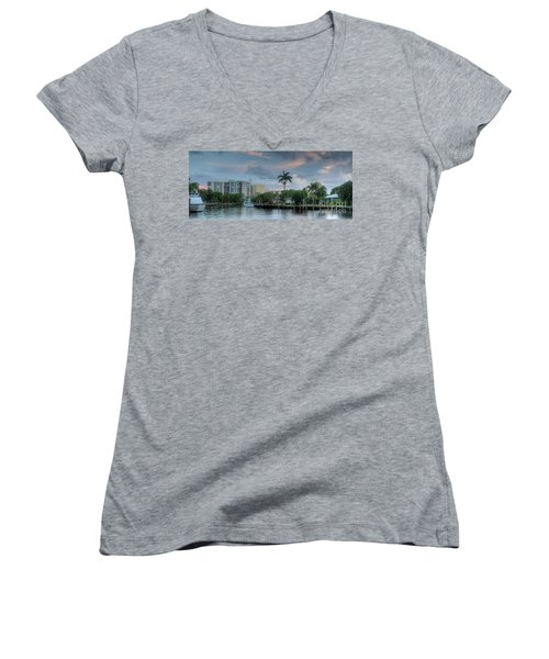 sunset South Florida canal Women's V-Neck (Athletic Fit)