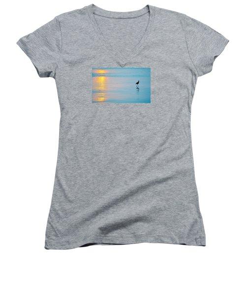 Sunset Stroll Women's V-Neck T-Shirt (Junior Cut) by AJ  Schibig