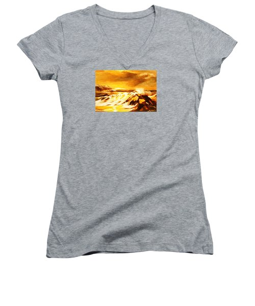 Women's V-Neck T-Shirt (Junior Cut) featuring the painting Sunset Surf by Al Brown