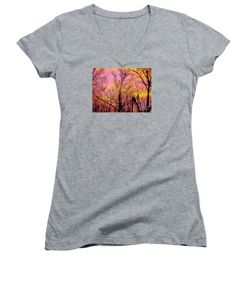 Sunset Through The Trees Women's V-Neck (Athletic Fit)