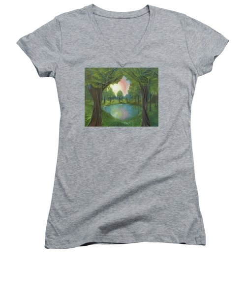 Women's V-Neck T-Shirt (Junior Cut) featuring the mixed media Sunset Through Trees by Angela Stout