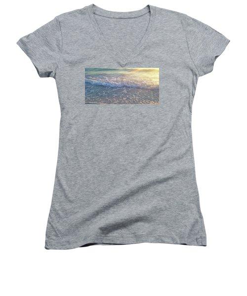 Women's V-Neck T-Shirt (Junior Cut) featuring the photograph Sunset Tide by Ginny Schmidt
