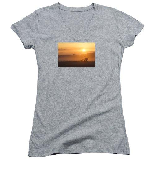 Sunset Venice Beach  Women's V-Neck T-Shirt (Junior Cut) by Christina Lihani