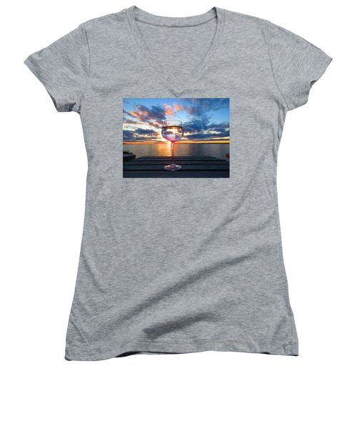 June Sunset On The River Women's V-Neck (Athletic Fit)