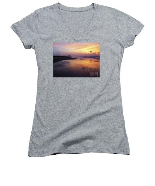 Sunset Walk On Myrtle Beach Women's V-Neck