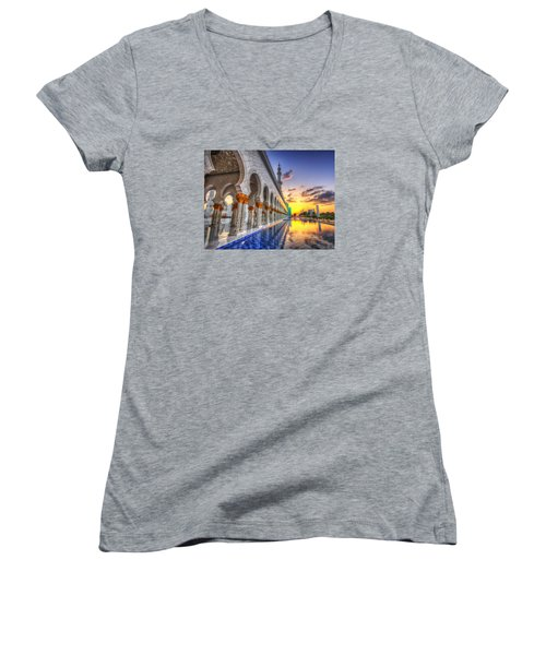 Women's V-Neck T-Shirt (Junior Cut) featuring the photograph Sunset Water Path Temple by John Swartz