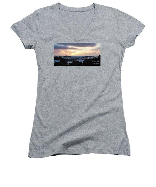 Sunset Waves, Asilomar Beach, Pacific Grove, California #30431 Women's V-Neck