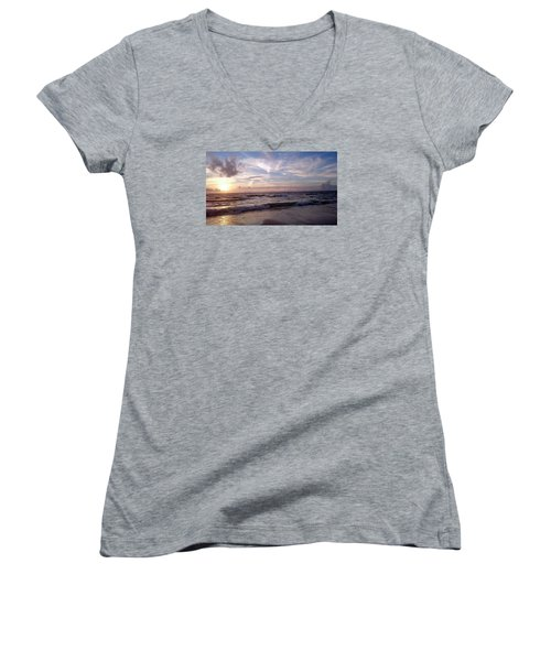 Sunset Waves  Women's V-Neck T-Shirt (Junior Cut) by Vicky Tarcau