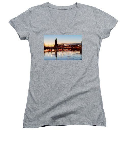 Sunset With Cityhall Of Stockholm Women's V-Neck T-Shirt (Junior Cut) by Anastasy Yarmolovich