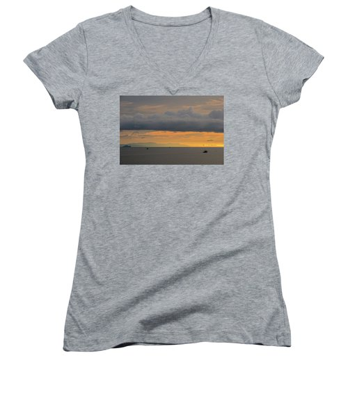 Sunset With Fishing Boats At Sea Women's V-Neck (Athletic Fit)