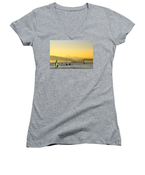 Sunset With Green Sailboat Women's V-Neck