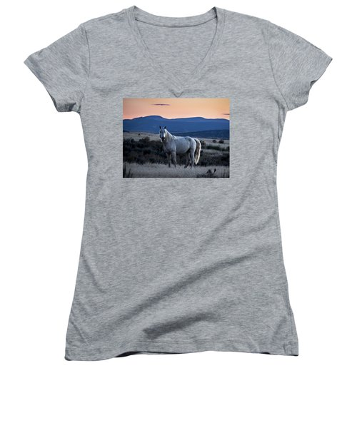 Sunset With Wild Stallion Tripod In Sand Wash Basin Women's V-Neck