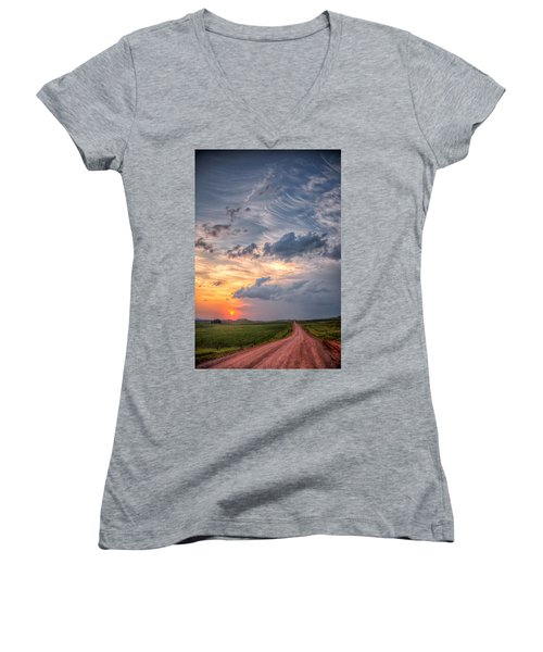 Women's V-Neck featuring the photograph Sunshine And Storm Clouds by Fiskr Larsen