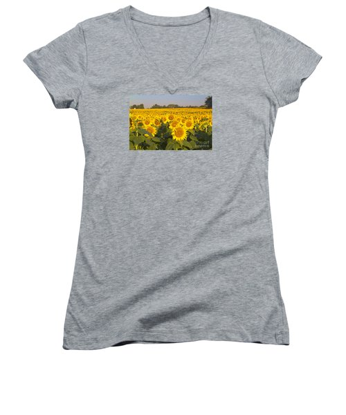 Sunshine Flower Field Women's V-Neck (Athletic Fit)