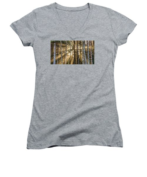 Women's V-Neck T-Shirt (Junior Cut) featuring the photograph Sunshine Forest by Pierre Leclerc Photography