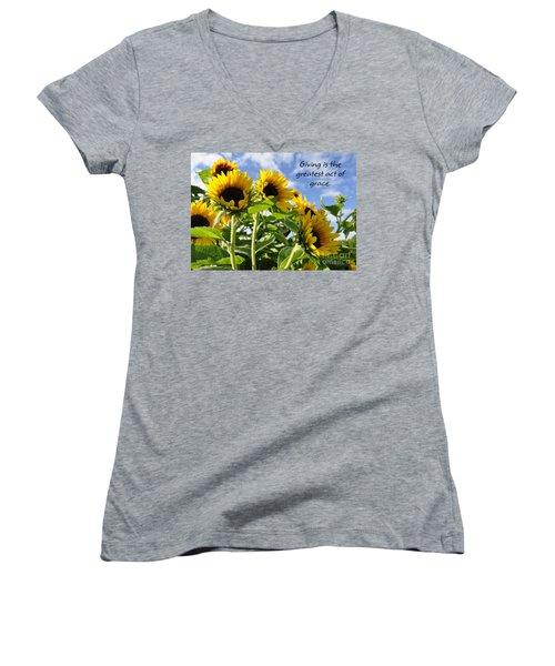 Women's V-Neck T-Shirt (Junior Cut) featuring the photograph Sunshine Lollipops Grace by Diane E Berry