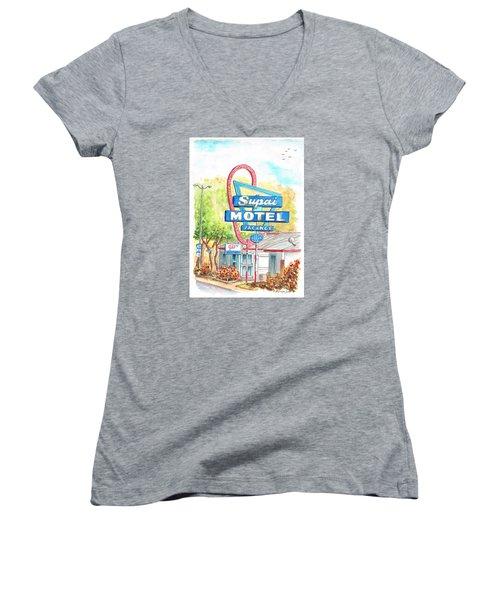 Supai Motel In Route 66, Seliman, Arizona Women's V-Neck T-Shirt (Junior Cut) by Carlos G Groppa