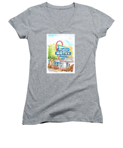 Supai Motel In Route 66, Seliman, Arizona Women's V-Neck (Athletic Fit)