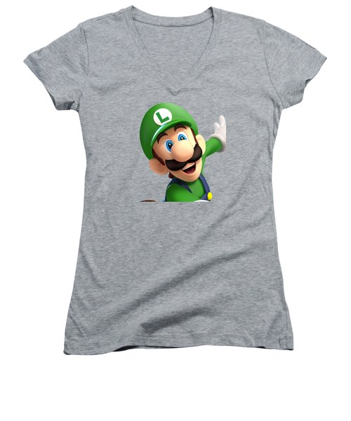 Super Luigi Women's V-Neck T-Shirt (Junior Cut) by Sheila Mcdonald