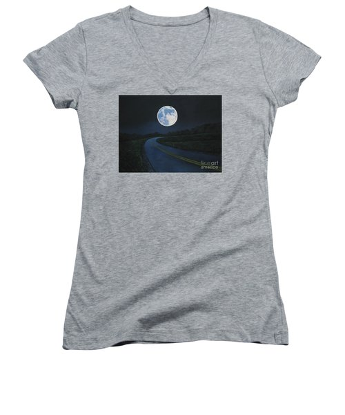 Super Moon At The End Of The Road Women's V-Neck T-Shirt