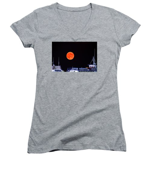 Women's V-Neck T-Shirt (Junior Cut) featuring the photograph Super Moon Over Crazy Sister Marina by Bill Barber