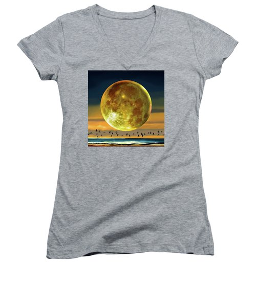 Super Moon Over November Women's V-Neck (Athletic Fit)