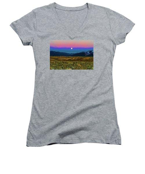 Super Moon Over Taos Women's V-Neck