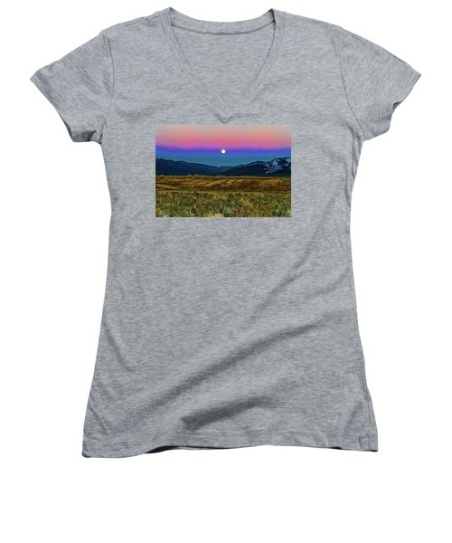 Super Moon Over Taos Women's V-Neck (Athletic Fit)