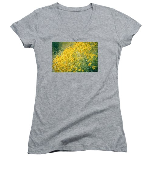 Superbloom Golden Yellow Women's V-Neck T-Shirt (Junior Cut) by Amyn Nasser
