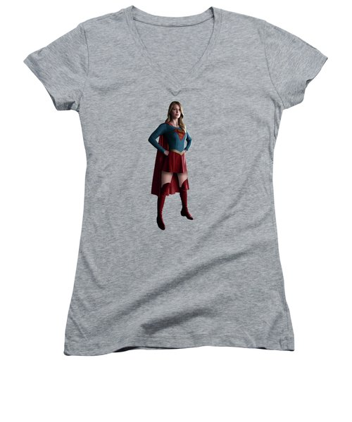 Supergirl Splash Super Hero Series Women's V-Neck T-Shirt (Junior Cut) by Movie Poster Prints