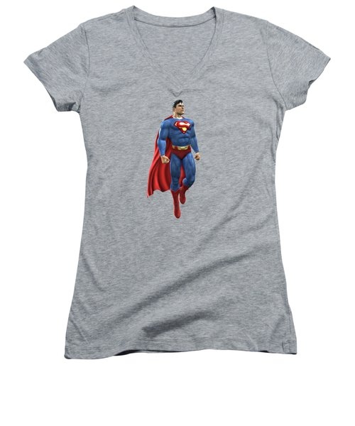 Women's V-Neck T-Shirt (Junior Cut) featuring the mixed media Superman Splash Super Hero Series by Movie Poster Prints
