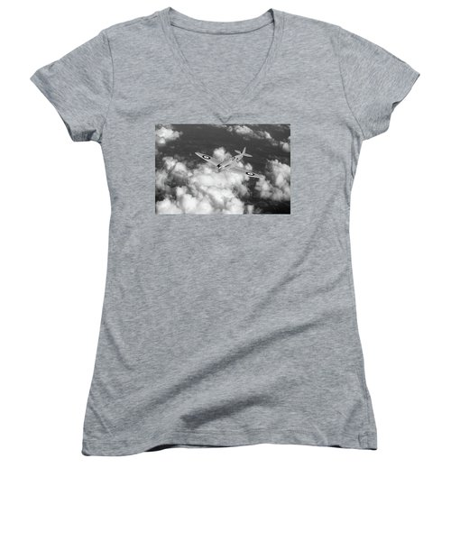 Women's V-Neck T-Shirt (Junior Cut) featuring the photograph Supermarine Spitfire Prototype K5054 Black And White Version by Gary Eason
