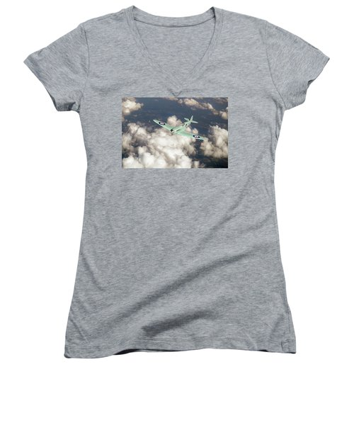 Women's V-Neck T-Shirt (Junior Cut) featuring the photograph Supermarine Spitfire Prototype K5054 by Gary Eason