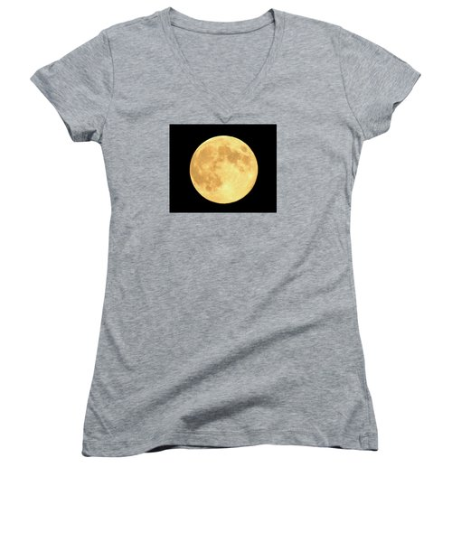 Supermoon Full Moon Women's V-Neck T-Shirt (Junior Cut) by Kyle West