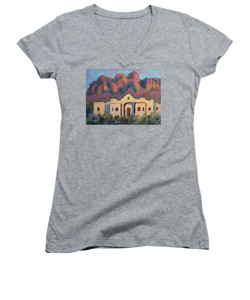 Women's V-Neck T-Shirt (Junior Cut) featuring the painting Superstition Mountain Evening by Diane McClary