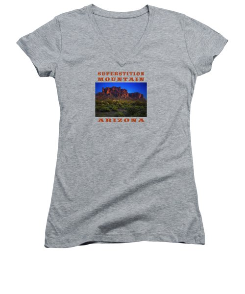 Superstition Mountain Sunset Women's V-Neck T-Shirt