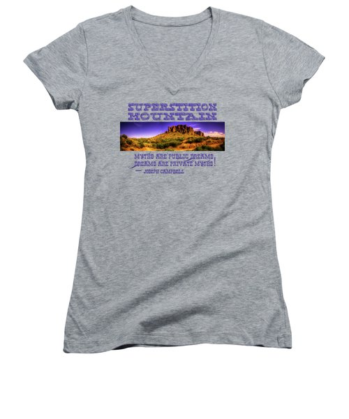 Superstition Mountains In Panorama Late Afternoon Women's V-Neck