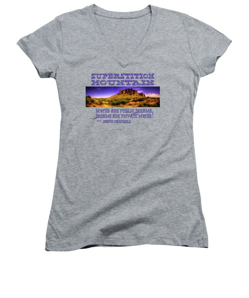 Superstition Mountains In Panorama Late Afternoon Women's V-Neck T-Shirt