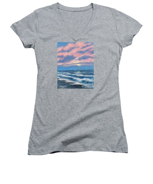 Women's V-Neck T-Shirt (Junior Cut) featuring the painting Surf And Clouds by Kathleen McDermott