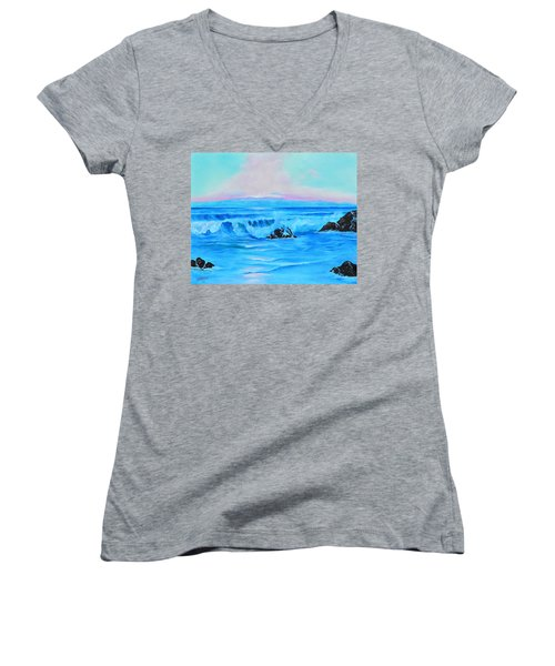 Surf At Sunset  Women's V-Neck T-Shirt