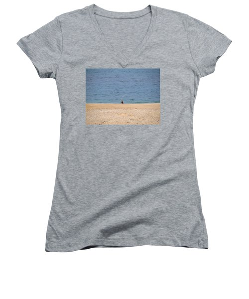 Women's V-Neck T-Shirt (Junior Cut) featuring the photograph Surf Caster by  Newwwman