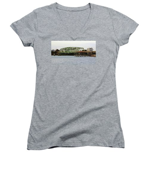 Surf City Swing Bridge Women's V-Neck T-Shirt (Junior Cut) by Cynthia Guinn