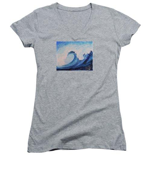 Surf No.2 Women's V-Neck T-Shirt (Junior Cut) by Teresa Wegrzyn