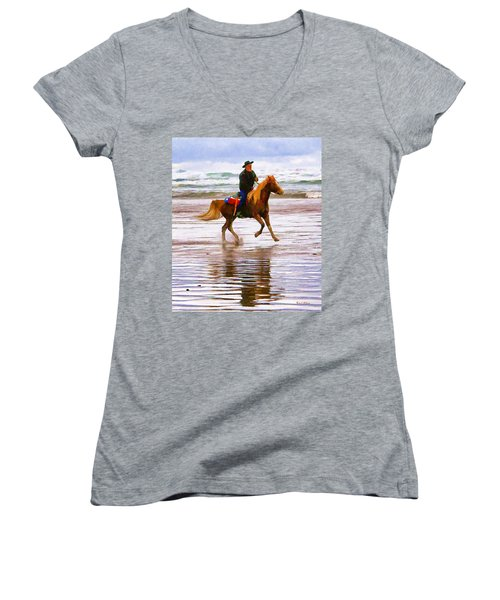 Women's V-Neck T-Shirt (Junior Cut) featuring the photograph Surf Rider by Wendy McKennon